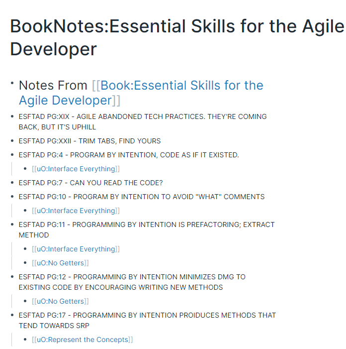 Essential Skills for the Agile Developer tagged notes